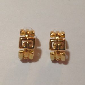 Givenchy Gold Tone Curved Earrings